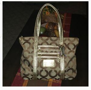 New Coach Poppy Signature Optic Glam Tote Bag